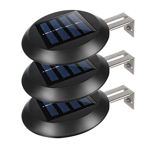 Canalón de luces solares, 9 ledes, lámpara solar Night Yard, soporte de pared, exterior, redondo, resistente al agua