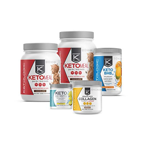 KetoLogic Keto 30 Challenge Premium Bundle: 30-Day Supply Keto Meal Replacement Shakes with MCT & BHB Exogenous Ketones Powder   Includes Keto Electrolytes & Collagen for Additional Health Benefits