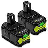 2Pack P108 4.0Ah Replacement for Ryobi 18v Battery P104 P102 Compatible with Ryobi 18v Cordless Tool Battery P103 P105 P107 P109 P190 P122