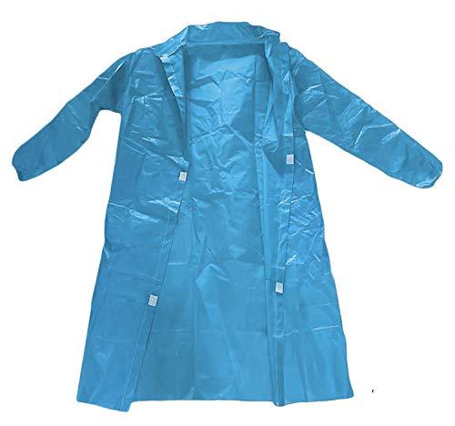 AMZ - Abrigos de laboratorio de polipropileno Paquete de 10 abrigos desechables para adultos. Bata unisex grande azul con mangas largas, muñecas elásticas y cierre de bucle. Grosor de 40 g/m², sin bolsillos. Uniforme de trabajo no estéril.