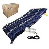 Mobiclinic, Mobi 3 Plus, Colchón antiescaras de aire alternante, con compresor silencioso, TPU Nylon, 17 celdas de aire, 200 x 105 x 12,8 cm, para escaras de Grado I, II y III, color Azul