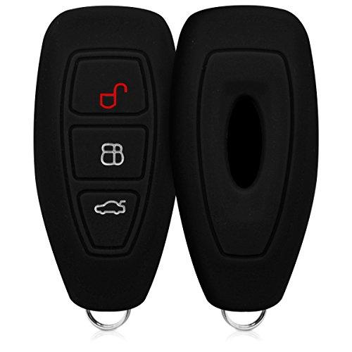 kwmobile Accessoire clé de Voiture Compatible avec Ford Keyless Go 3-Bouton - Coque en Silicone Souple pour Clef de Voiture Noir