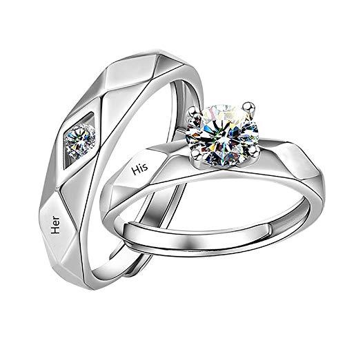 Ringe 1x Paar Diamantringe, verstellbare Verlobungsringe für Männer und Frauen, Eheringe, Paarringe jahrestag pärchen geschenke für ihn (A)