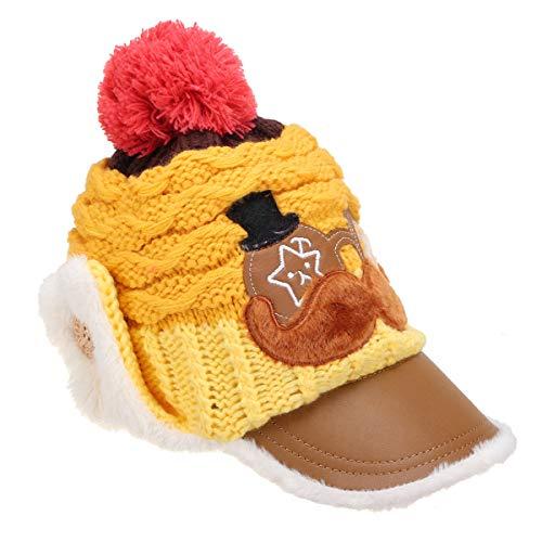 FEIYI Health Care Kids Girls Boys Baby Winter Warm Crochet Sombrero Earflap Gorro de punto con visera (color: amarillo)
