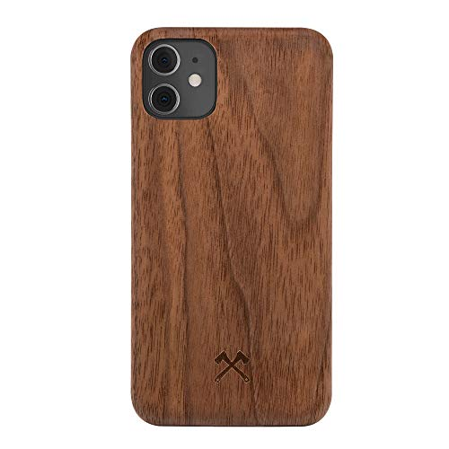 Woodcessories - Handyhülle kompatibel mit iPhone 12 Mini Hülle Holz, Echtholz - EcoSlim Case (Walnuss)