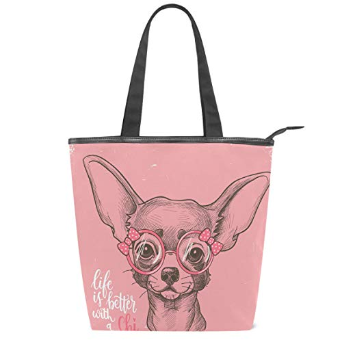 Pink Chihuahua Dog Canvas Tote Bag Bow Glasses Star Heart Puppy Casual Shoulder Bag Handbag with Zipper, Eco-Friendly Reusable Grocery Shopping Bags for Women Girls