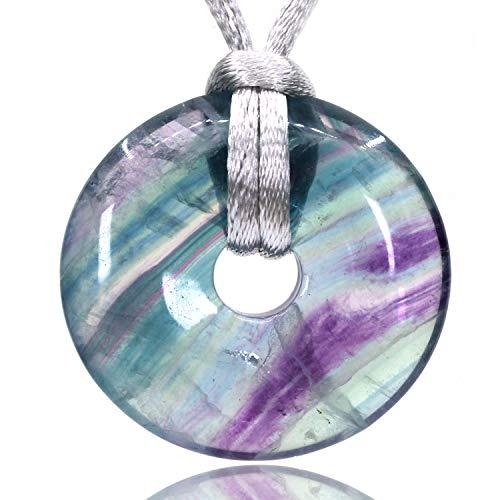 Bonded Chakra Pendentif Natural Gemstone Healing Facted Pierre Collier Pendentif