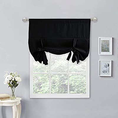 NICETOWN Tie Up Curtains for Windows - Blackout Short Kitchen Curtain Bathroom Window Treatment Curtain Shade (1 Piece, Black, 34 inches W x 45 inches L)