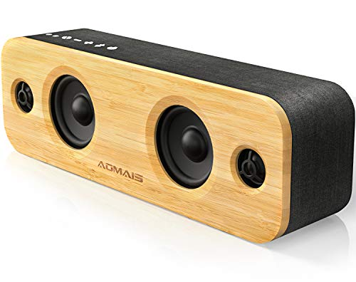 AOMAIS Life Bluetooth Speakers, 30W Loud Home Party Wireless Speaker, 2 Woofer & 2 Tweeters for Super Bass Stereo Sound, 100 Ft Bluetooth V5.0 and 12-Hour Playtime Subwoofer [ Imitation Bamboo Panel ]