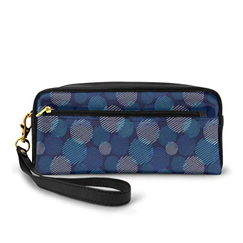 Pencil Case Pen Bag Pouch Stationary,Modern Digital Featured Polka Dots Extravagant Dotted Circles,Small Makeup Bag Coin Purse