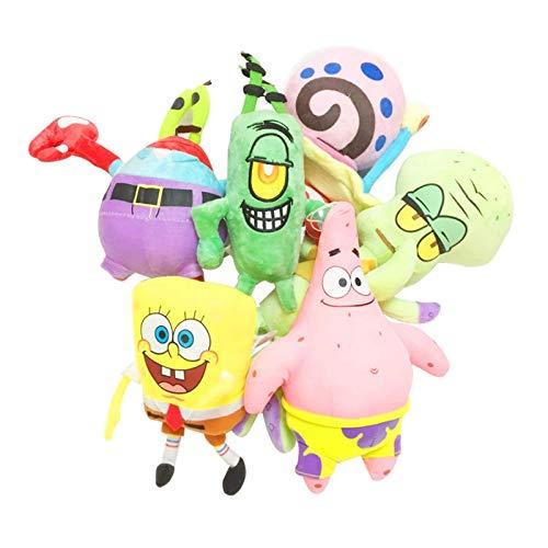 zcm Peluche 6pcs / Set Giocattoli di Peluche di Spongebob Personaggi dei Cartoni Animati per Bambini Giocattoli di Regalo di Compleanno di Natale Animali di Peluche E Peluche
