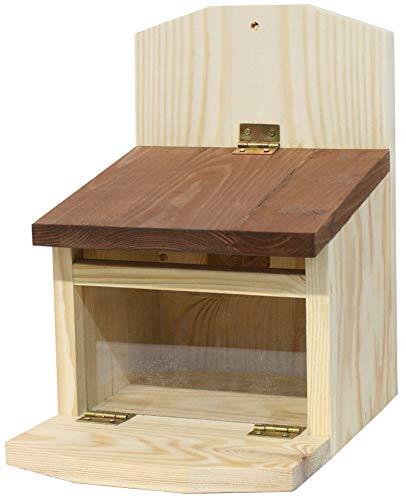 Novaliv Eichhörnchen Futterhaus I Holz I Futterstelle wetterfest I 19x28x25 I Eichhörnchenhaus Nistkasten Futterstation Futterbox