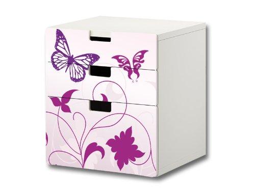 Butterfly Möbelsticker/Aufkleber - S3K04 - passend für die Kinderzimmer Kommode mit 3 Fächern/Schubladen STUVA von IKEA - Bestehend aus 3 passgenauen Möbelfolien (Möbel Nicht inklusive)