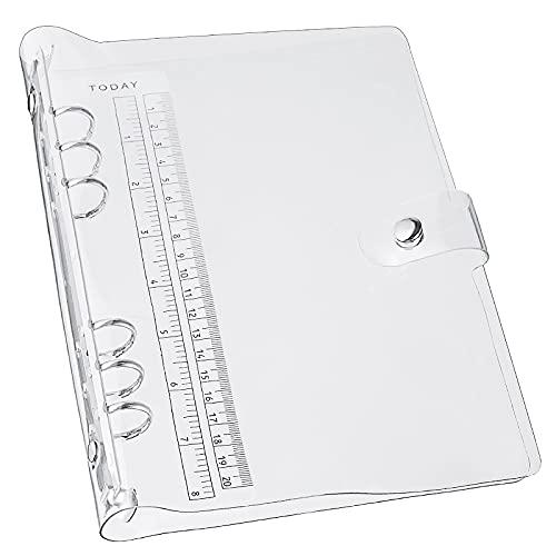 LANGING - Raccoglitore ad anelli per fogli di formato A5, standard, a 6 fori, copertina in PVC morbido e trasparente, ricaricabile A5