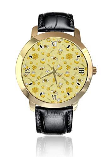 Bee Honey Reloj de pulsera analógico clásico de cuarzo reloj de pulsera de cuero para hombres y mujeres