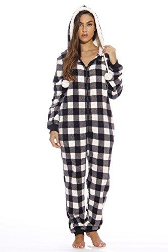Just Love Adult Onesie/Pajamas,Large,White Buffalo Plaid