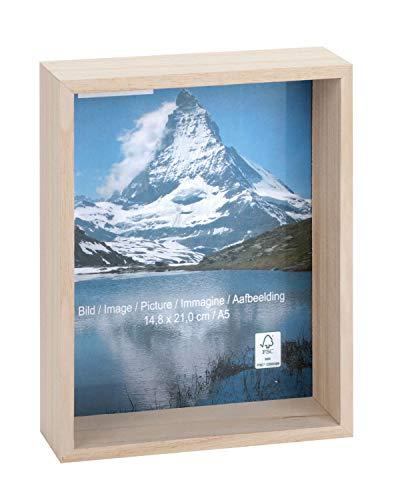 Glorex 6 1683 452 Houten fotolijst 3D, biedt veel ruimte voor decoratie, ca. 31,1 x 22,4 x 6,2 cm.