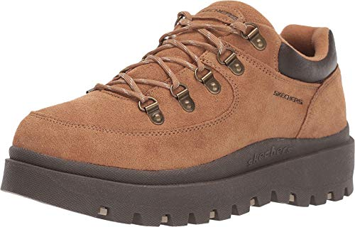 Skechers Women's SHINDIGS-Stompin' -Rugged Heritage Style 5-Eye Suede Shoe-Boot Oxford, Tan, 8 M US