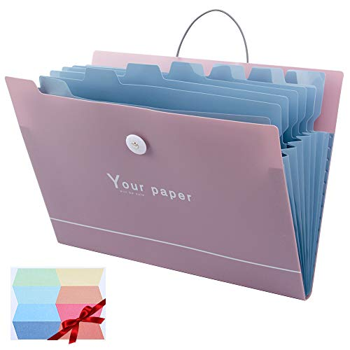 Uquelic 8Pockets Expanding File Folder - Durable Plastic A4 Letter Size Document Jacket Accordion Paper Storage Organizer with Label