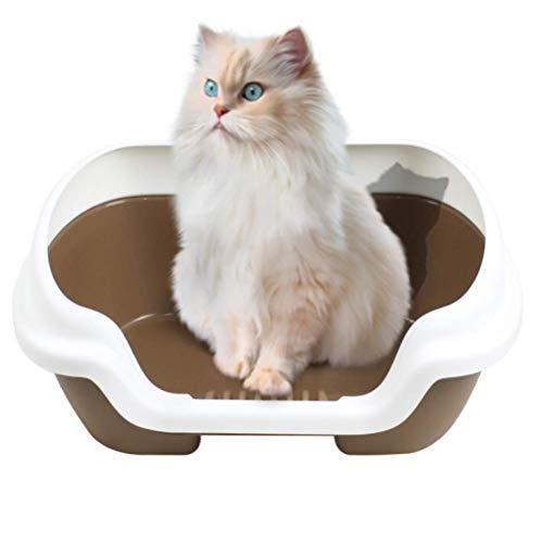 zaizai Caja de Arena para Gatos Grande con Borde, Caja de Arena para Gatos a Prueba de Salpicaduras en el Lado Superior con Pala extraíble Inodoro para Gatos Fácil de Limpiar 40 * 30 * 20 cm,