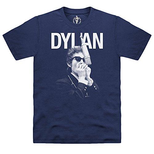 Official Bob Dylan Camiseta Harmonica, para Hombre, Azul Marino, M