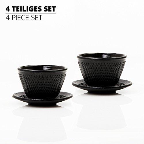 Lumaland Tee Tassen Set Traditionell Asiatisch 4-teilig enthält 2 x gusseiserne Teebecher & 2 x Untersetzer in Schwarz