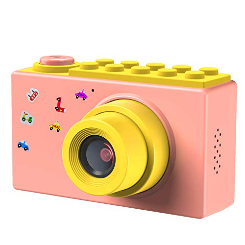 FISHOAKY Kamera Kinder, Digitalkamera Videokamera Fotoapparat Kinder Full HD 1080P / 8MP / 4X Digitaler Zoom / 2 Zoll LCD Bildschirm / 256M TF Karte (Rosa)