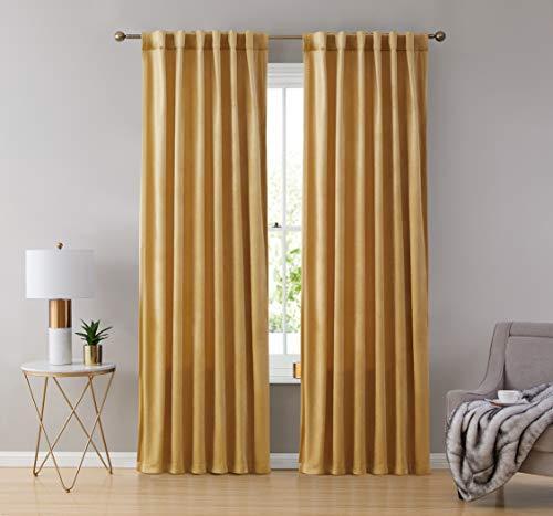 HLC.ME Lopez Velvet Premium Soft Light Filtering Back Tab Rod Pocket Window Treatment Curtain Drapery Panels for Bedroom & Living Room - Set of 2 Panels (54 x 63 inches Long, Gold)