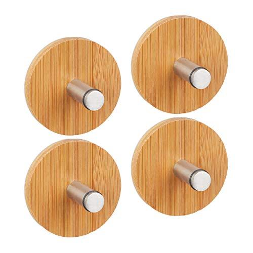 4 Piezas Ganchos Adhesivos, Bambú Acero Inoxidable, Marrón Natural, 6 x 4,5 cm