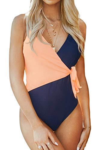 CUPSHE Women's One Piece Swimsuit Wrap Tie Side Cross Back Swimwear Color Block Bathing Suits Patchwork S