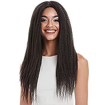 NOBLE GIRL Dreadlock Wig 26  Long Lace Wig Kinky Braided Wigs for Black Women Synthetic Faux Locs Wigs  26 inch Medium Brown Wig