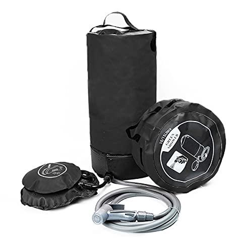 Ducha Solar portátil para Camping Ducha Plegable de Exterior con Bomba de pie Agua Caliente al Aire Libre de excursión o Playa 11 L (Color : Black)