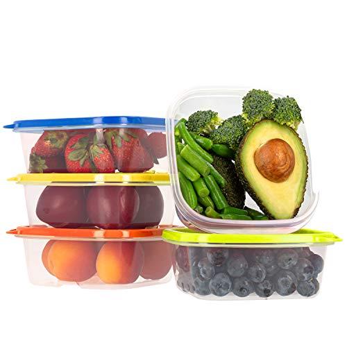Frischhaltedose Set aus BPA-freiem Plastik, Aufbewahrungsbox mit farbigen Deckeln, Brotdose, Gefrierschrank Organizer, Lunchbox, Oursson Küchen Organizer (5 x 400 ml, Mehrfarbig)