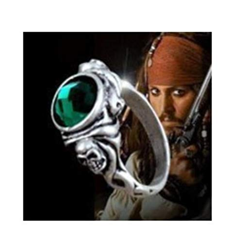 SUXIAO Pirates The Caribbean Man Accessory Ring of Death Captain Jack Sparrow Skull Cool Gothic Ring Free Movie Cosplay,6