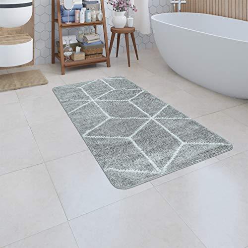Paco Home Badematte Kurzflor Teppich Badezimmer Karo Rauten Geometrisch Skandi Muster, Grösse:80x150 cm, Farbe:Grau