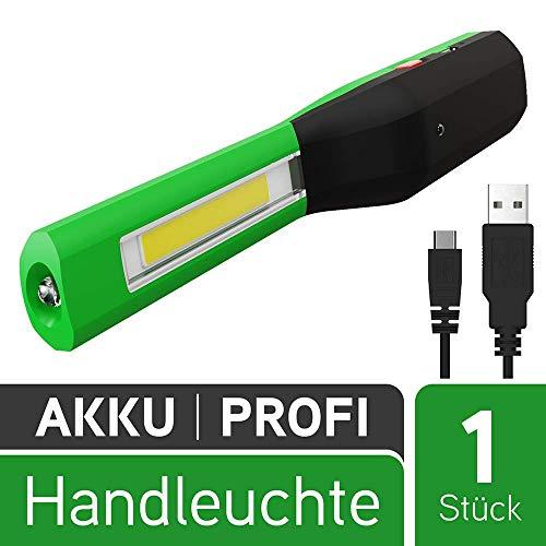 M.LINE LED Werkstattlampe mit Magnet - Profi 2in1 Akku Inspektionsleuchte mit 100 Lumen & Clip - Arbeitsleuchte aufladbar über USB, robust, handlich - Arbeitslampe Werkstattleuchte Arbeitslicht