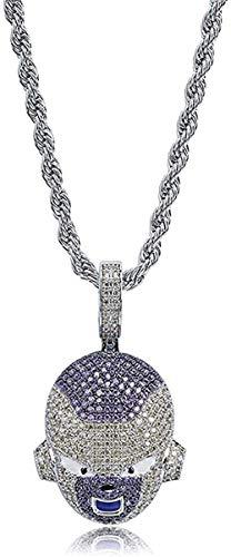 LBBYMX Co.,ltd Halskette mit Gefrierschrank Anhänger Charakter EIS Zirkon Zirkon Farbe Gold Silber Männer Charms Kette Schmuck Halskette