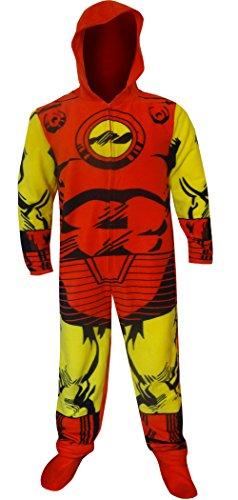 Bioworld Merchandising Men's Hooded Marvel Comics I am Iron Man One Piece Pajama (X-Large) Red
