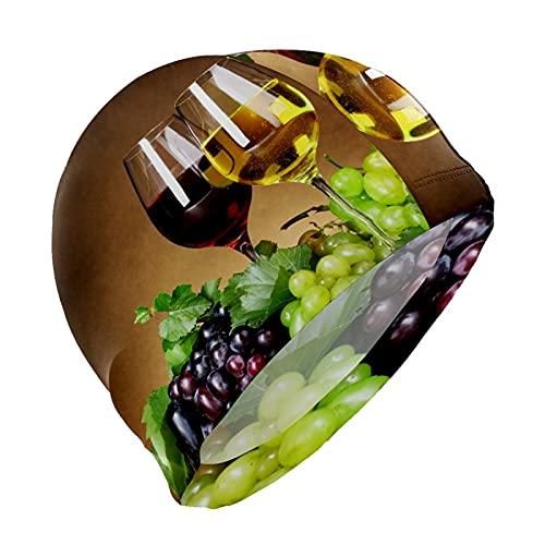 Gorro de natación para vino tinto uvas francés gourmet gorro de natación para hombres, niños, adultos, jóvenes, adolescentes, gorro de natación antideslizante