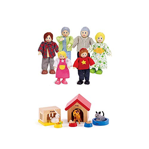 """Hape Happy Family Dollhouse with Pet Set Award Winning Doll Family Set, Unique Accessory for Kid's Wooden Dolls House, Imaginative Play Toy, 6 Family Figures, Adults 4.3"""" and Kids 3.5"""""""