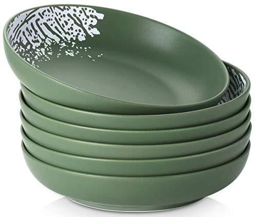DOWAN Pasta Bowls 27oz, Large Salad Serving Bowls, Porcelain Soup Bowl Set of 6, Wide & Shallow Pasta Plate Bowls, Green Matte, Matte Print Design