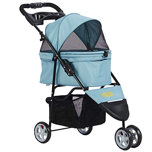 VIAGDO Pet Strollers for Small Medium Dogs & Cats, 3-Wheel Cat Stroller, Foldable Dog Stroller with Removable Liner and Storage Basket for Dog & Cat Traveling Strolling Cart (Light Blue)