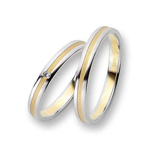 CORE by Schumann Design Trauringe Eheringe aus 585 Gold (14 Karat) Gelbgold/Weißgold Bicolor mit echten Diamanten GRATIS Testringservice & Gravur 19103314