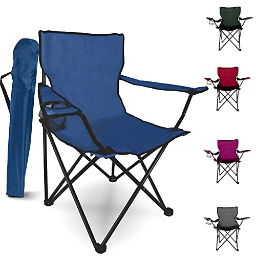 Folding Camping Chair – Outdoor Portable Garden Chair, Lightweight Design Lounger Seat with Cup Holder – Ideal for Summer to go Beach, Sun Bathing, Fishing, Parties, Trips and BBQs (Blue, Style 1)