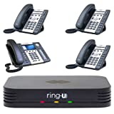 Ring-U Hello Hub Small Business PBX Phone System and Service VOIP 4-Phone Bundle (Hello Hub + 3 Standard Atcom A20W Handsets + 1 Atcom A68W Operator Handset)