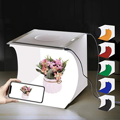 PULUZ Boîte à lumière de studio photo portable 20 x 20 x 20 cm Tente lumineuse 2 panneaux LED 6000K Mini 2 x 3.5W Tente de studio photo avec 3 fonds amovibles Noir, blanc, orange, rouge, vert, bleu