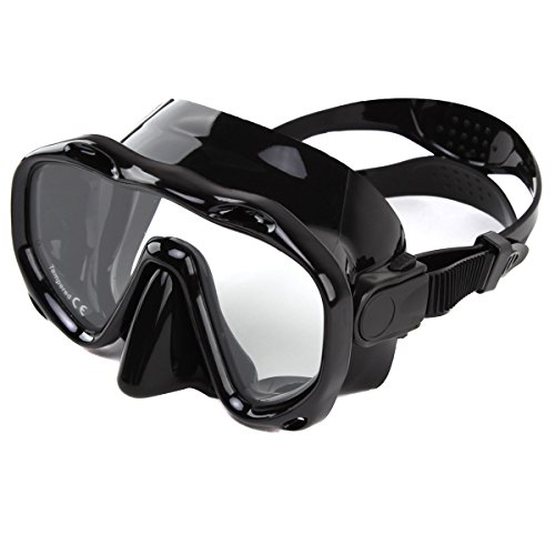 Whale an-ti Fog Frameless Dive Mask Scuba Diving Goggles,Waterproof and Quick Adjustable Snorkeling Masks for Men & Women-Black