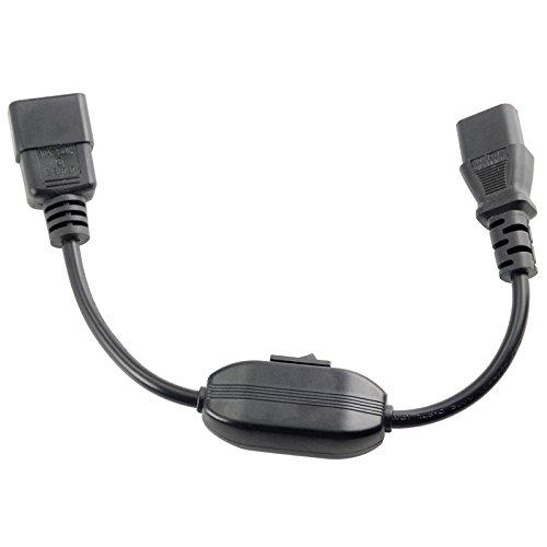 IEC 320 C14 Male auf C13 Female Konverter Verlaengerung Kabel Verlaenge mit Schalter w/Switch 32cm