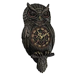 Resin Wall Clocks Metallic Bronze Finished Steampunk Owl Pendulum Wall Clock 6.25 X 12.5 X 2.25 Inches Bronze