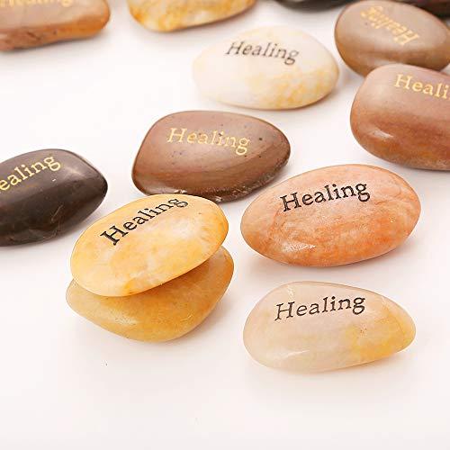 ROCKIMPACT 50PCS Healing Healing Stones Encouragement Stones Engraved Inspirational Gifts Pocket Zen Healing Chakra Balancing Inspiring Prayer Stones Wholesale Healing Rocks Bulk,2-3 Each